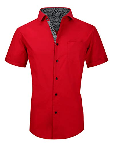 Mens Short Sleeve Dress Shirts Regular Fit Casual Button Down Shirts Red L
