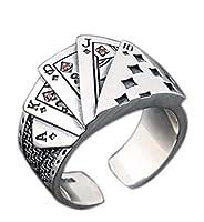 ポーカーリング スクエアフラッシュ トランプ メンズ レトロ ヴィンテージ 指輪 アクセサリー
