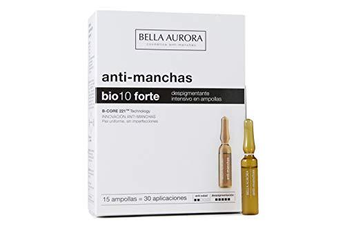 Bella Aurora Tratamiento Despigmentante Facial Intensivo, 15 Ampollas, Anti-Manchas Piel, Quita-Manchas Cara, Bio 10 Forte, 60 Mililitros
