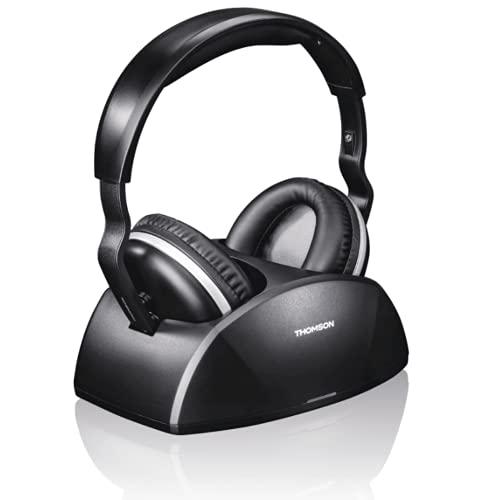 Thomson kabelloser Funk-Kopfhörer mit Ladestation (WHP3321BK Over-Ear-Kopfhörer für Fernseher/TV, TV-Kopfhörer mit optischem Eingang, schnurloser Kopfhörer mit 100m Reichweite, Headphones TV)