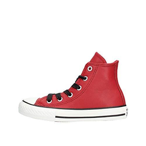 Converse Unisex-Kinder Chuck Taylor CTAS Hi Sneakers, Mehrfarbig (Red Dahlia/Black/Vaporous Grey 607), 37.5 EU