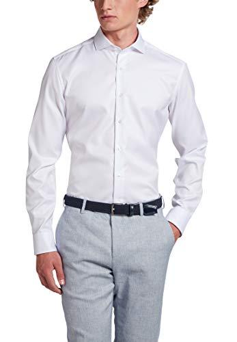 eterna Langarm Hemd Slim FIT Twill unifarben W41 Langarm Weiß