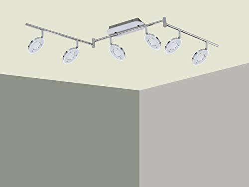 Trango 6-flammig 2002-068 LED Wohnzimmer Lampe *OLI* in Chrom-Optik inkl. 6x 5 Watt LED Modul I Deckenlampe I Deckenstrahler I Deckenleuchte I Schlafzimmer Leuchte schwenkbar und drehbar