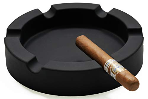 FairleeCove Large 9' Round Cigar Ashtray Centerpiece - Wide Shelf - Unbreakable – Firm Flexible Silicone Indoor Outdoor Cigar Ashtrays for Patio Pool Restaurant (Black)