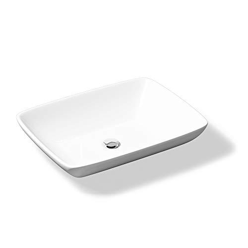 Aufsatzwaschbecken Brüssel102 mit Nano-Beschichtung/Lotus-Effekt, BTH: 59x43x13 cm, in weiß, aus Keramik, eckige Form