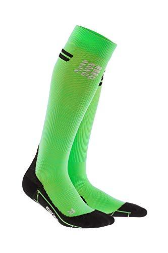 CEP - Merino Run Socks für Damen | Lange Laufsocken mit Kompressionswirkung | grün/schwarz| Größe IV