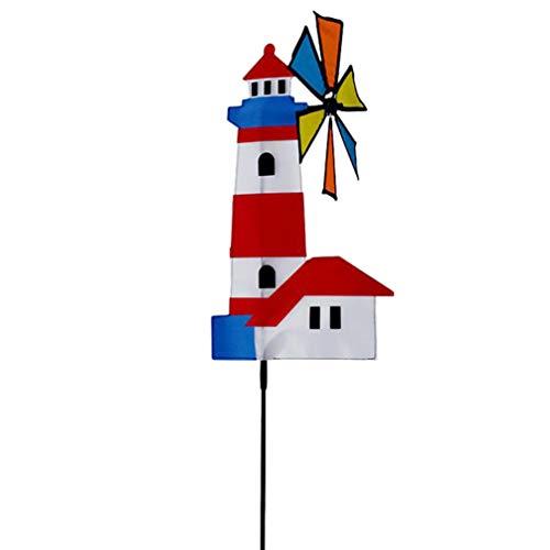 YARNOW Garten Leuchtturm Windrad Dekoration Ornament in Boden Rasen Windmühle Garten Landschaft Dekoration für Rasen Garten Terrasse Hof