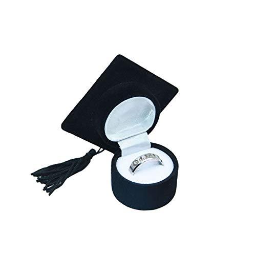Abaodam Caja de anillo con forma de sombrero doctor organizador creativo caja de joyería caja de almacenamiento soporte para ceremonia de graduación Decoración de fiesta de Navidad (negro)
