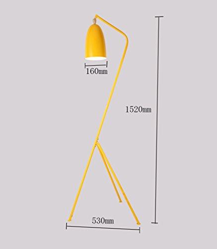 ZHDC® Stehleuchte, Eisen Nordic Postmodern Einfachheit Studie Schlafzimmer Wohnzimmer Restaurant Stativ 530 × 1520mm Stehlampe (Farbe : Gelb)