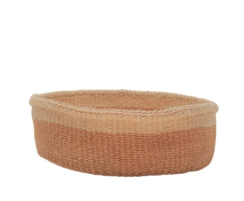 LaLe Living Cesta Pita de sisal 100 % hecha a mano en natural y blanco, diámetro 25 x altura 7,5 cm, cesta de pan o para guardar frutas y verduras