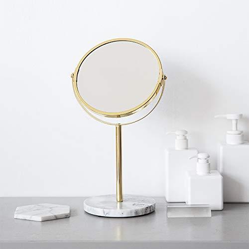 LANilianhuqa Marble Base Rose Gold Mirror Makeup Vanity Mirror Home Decor Cosmetic Ladies Office Dormitory Desktop Round Mirror