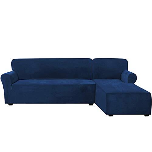 MJDSVWCS Funda de sofá de Terciopelo Grueso en Forma de L, sofá de Esquina para Sala de Estar, Funda de sofá elástica seccional, Funda de sofá Canap Chaise Longue Navy Blue 3 Seat 175-210cm