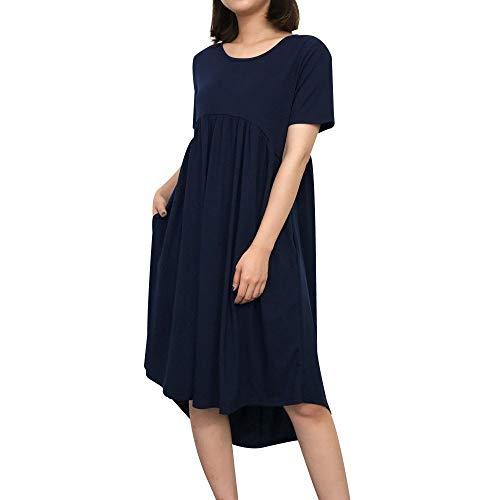 Lulupi T-Shirt Kleid Damen Shirtkleider Casual Loose Rundhals Kurzarm Einfarbig Strandkleid mit Taschen Größe XS-3XL