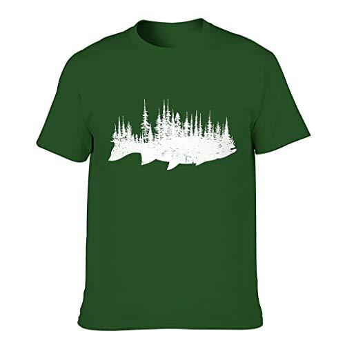 Lind88 Hombres Pesca Regalo Algodón Camisetas Desgastar
