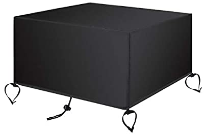 SAVITA 44x44x24 Inch Patio Fire Pit Table Cover 420D Oxford Fabric Waterproof Windproof Square Fire Bowl Protective Cover with Air Vent and Handle (Black) from SAVITA