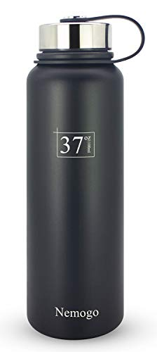 Nemogo 37oz Stainless Steel Water Bottle - Double Walled, Vacuum Insulated, Wide Mouth, Sport Design Idea for Hiking, Camping, and Everyday Use Black