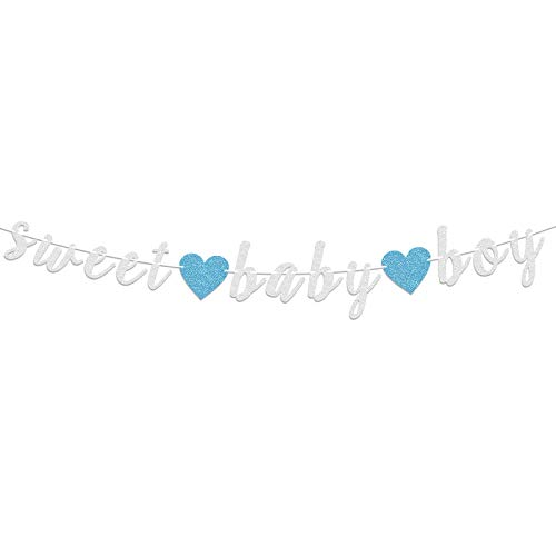 LASKYER Sweet Baby Boy Silver Glitter Garland Banner with Blue Heart Perfect for Baby Shower Sweet Baby Boy Birthday Party Decorations.