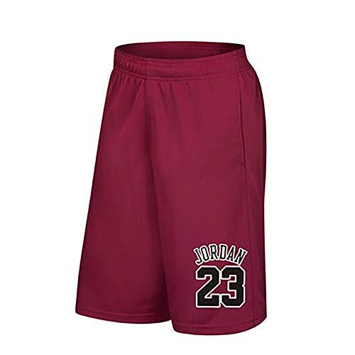 Jordan # 23 Plus Size Herren Basketball Shorts, Herren Running Basketball Sport Short Pants Dünne, atmungsaktive Fitness Loose Training Shorts mit Tasche-red-XXL