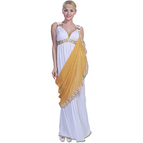 EraSpooky Costumi Costume da Dea Greco Antico Costume da Donna Toga Fancy Dress Halloween Party Outfit per Adulto