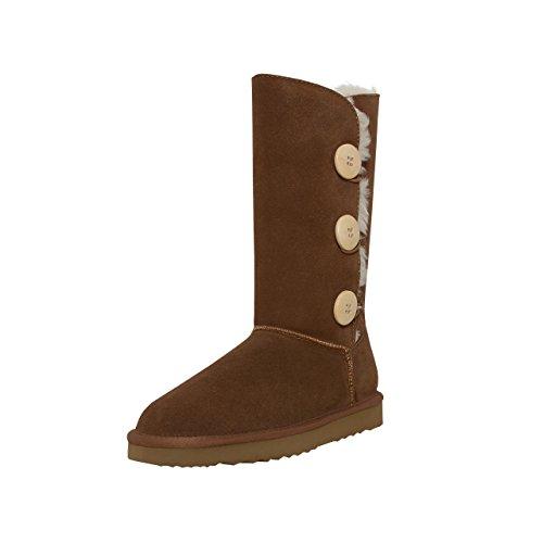 SKUTARI Triple Button Boots, In Handarbeit gefertigte Kniehohe italienische Damen-Lederstiefel mit kuscheligem Kunstfellfutter und Anti-Rutsch-Sohle (38 EU, Camel)
