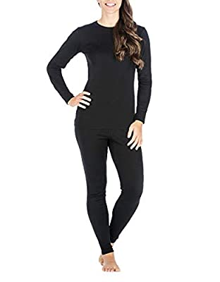 Thermal Underwear for Women, Ultra Soft Long Johns Womens Set Base Layer Clothes (Black Set, Large)