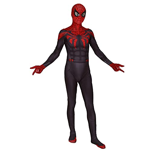 Disfraz De Spider-Man Ultimate Disfraz Clásico para Niños Mono Niño Cosplay Halloween Zentai Trajes De Carnaval Navidad Pascua Mono 3D Impreso Onesies,Black-Adult/M/160~165cm