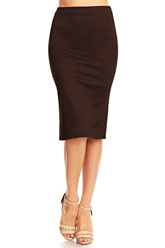 Solid High Waist Band Bodycon Office Work Midi Stretchy Pencil Skirt/Made in USA Brown M