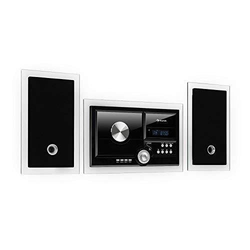 auna Stereosonic Stereo System - Stereoanlage, Kompaktanlage, Radio, zur Wandmontage, CD-Player, USB-Port, Bluetooth, AUX-In, pianoschwarz