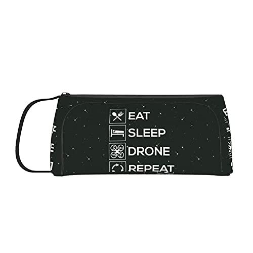 Eat Sleep Drone Repeat Federmäppchen für Mädchen, Jungen, Frauen, große Kapazität, Make-up-Tasche mit Griff