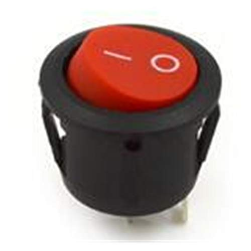 GUODONG MAYE2021 15 Mm 16 Mm De Diámetro Pequeño Bote Redondo Interruptores De Rockero Negro Mini Redondo Redondo Rojo De 2 Pin On-Off Rocker Switch 3A 250V (Color : Red, Size : 10Pieces Lot)