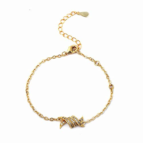 CHWEI Knitted Hat Pulseras para Mujer Hombres Mujeres Cristales Cubic Zirconia X Charms Pulseras para Mujeres Joyería Punk Pulseras De Eslabones De Cadena Men's Gold Color