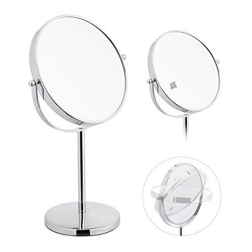Relaxdays, Silber Kosmetikspiegel, zweiseitig mit 10-Fach Vergrößerung, stehend, runder Tischspiegel, HBT: 38x23x13,5 cm, 1 Stück