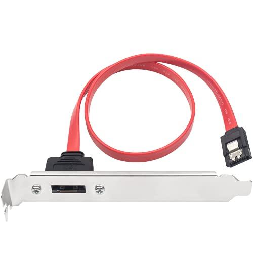 Duttek Cables SATA, SATA de 7 pines a SATA Serial ATA, SATA Serial ATA a ESATA Cable adaptador de soporte 6.0 Gbps Cable externo de ranura PCI con conector adaptador de panel(45 cm/17.70 pulgadas)