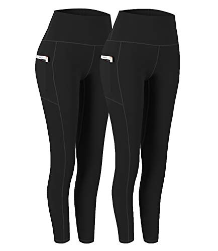Fengbay Womens 2 Pack High Waist Yoga Pants, Pocket Yoga Pants Tummy Control Workout Running 4 Way Stretch Yoga Leggings