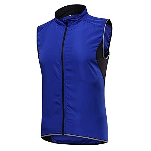 SFITVE Chaleco de Ciclismo para Hombre,Chaleco Reflectante Resistente Al Agua y Al Viento,Respirable Ropa Cortavientos,Protección UV Chaqueta de Bicicleta(Size:XXL,Color:Azul)