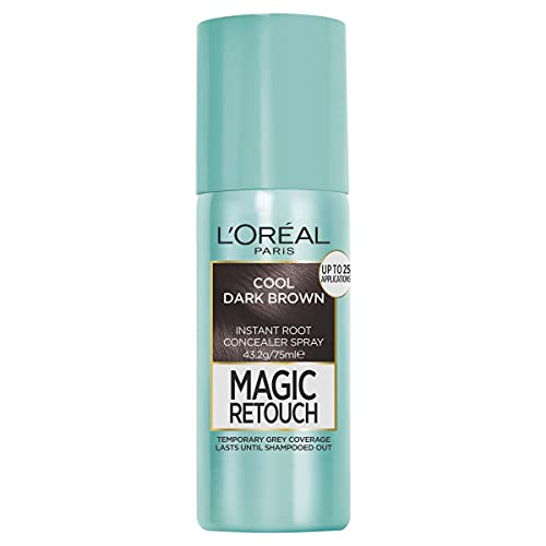 L'Oréal Paris Magic Retouch Temporary Root Concealer Spray - Cool Dark Brown (Instant Grey Hair Coverage)