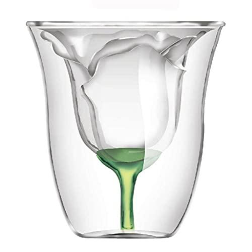 RYSF Copa de Vino de Doble Pared en Forma de Rosa Copa de Vidrio de Vidrio de Vidrio de Vidrio