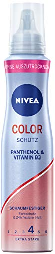 NIVEA Color Schutz Schaumfestiger Extra Stark (150 ml), pflegender Haarschaum mit Panthenol & Vitamin B3, Volumenschaum für Farbschutz & 24h Halt