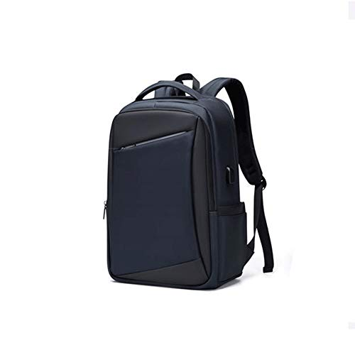 Gqbzz Men's large-capacity water-repellent 15.6-inch computer backpack student school bag external USB interface business leisure travel backpack black (Color : Blue)