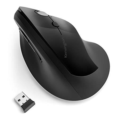 Kensington Mouse Pro Fit Ergo Wireless, Verticale, Tecnologia Wireless 2.4 GHZ, Rotellina di Scorrimento & 4 Pulsanti per Prevenire Tendinite/Gomito del Tennista/Tunnel Carpale, Nero (K75501EU)