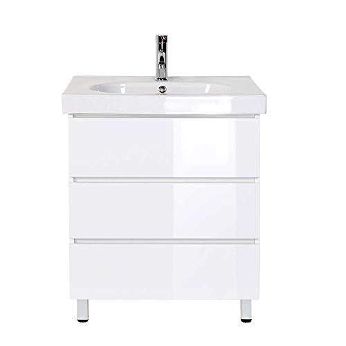 Pharao24 Waschschrank mit Einlass-Waschbecken Weiß