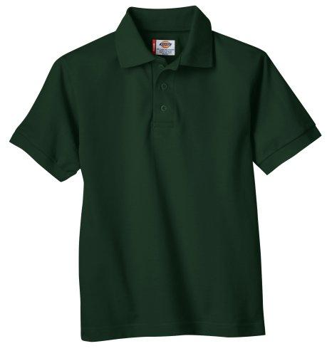 Dickies Big Boys' Short Sleeve Pique Polo Shirt, Hunter Green, Large (14/16)