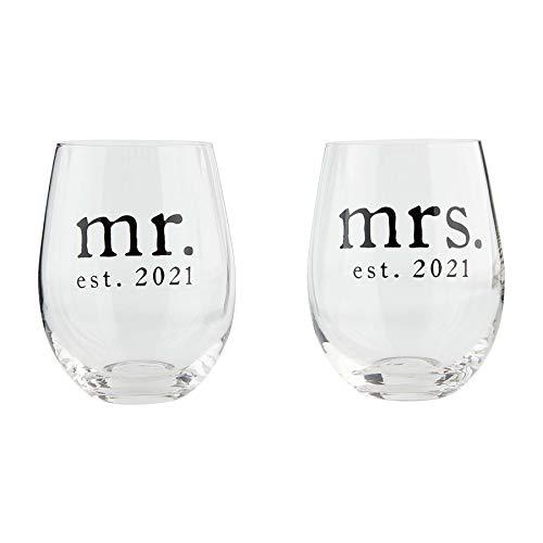 Mud Pie Wine Glass Set Juego de copas de vino MR MRS 2021, Vidrio, Transparente