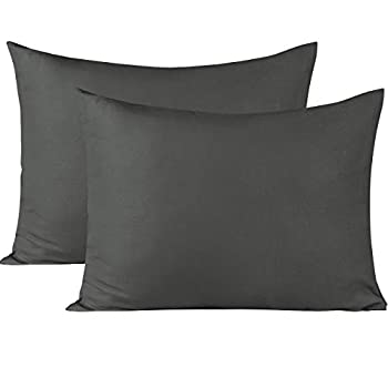 BEDSUM Microfiber Pillowcases Set of 2 Ultra Soft and Wrinkle Resistant Pillow Cases with Envelope Closure Standard Dark Grey