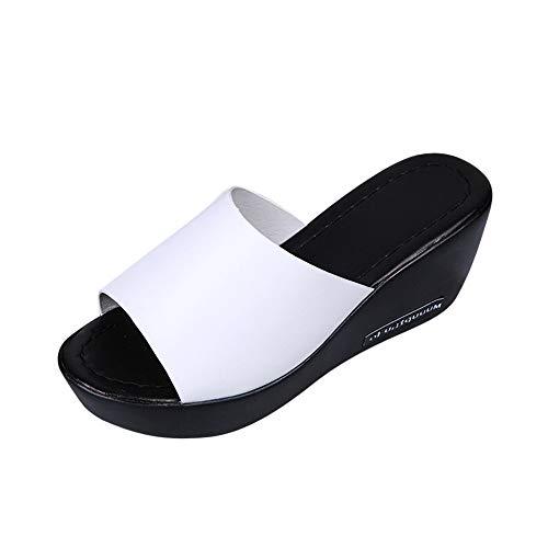 Sandalias planas para mujer con plataforma para boca de pez y tacón alto,  Blanco, 6