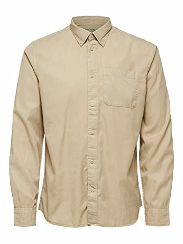 SELECTED HOMME SLHREGRICK-Soft Shirt LS S Noos Camicia, Crockery, M Uomo