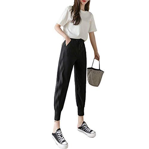 Pantalones de chándal para Mujer Verano Cintura elástica Cordón Personalidad Cremallera Lateral Cintura Alta Ligero Pantalones Transpirables OcasionalesLarge