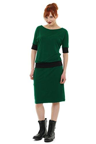 3Elfen Sommerkleid Fledermaus Kleid der Marke locker Knielang Langer Rock - tannengrün L