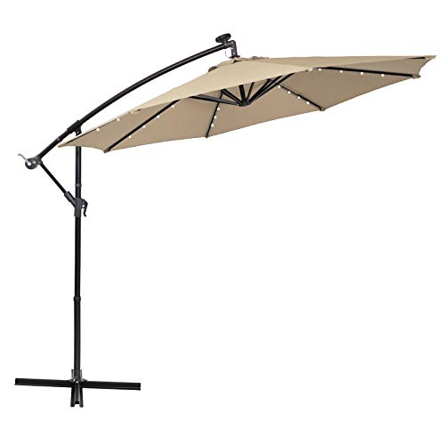 Sophia & William 10' Offset Hanging Patio Umbrella with 32 LED Solar Powered Lights 8 Ribs, Beige