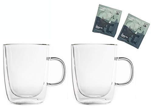 Teeset: 2x 450ml Thermotassen + 2x Tee London Decaf - doppelwandige Tassen, 2x Teebeutel Schwarztee entkoffeiniert by Feelino